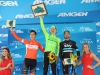 SOUTH LAKE TAHOE, CA - MAY 19: From left, second place on the stage Adam De Vos of Canada, riding for Rally Cycling, stage winner Toms Skujins of Latvia riding for Cannondale Pro Cycling, and third place Xabier Zandio of Spain riding for Sky Pro Cycling pose for a photo on the podium following stage five of the Amgen Tour of California on May 19, 2016 in South Lake Tahoe, California. (Photo by Chris Graythen/Getty Images) *** Local Caption *** Adam De Vos;Toms Skujins;Xabier Zandio