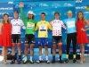 SOUTH LAKE TAHOE, CA - MAY 19: From left, Neilson Powless of the United States riding for Axeon Hagens Berman in the Best Young rider jersey, Peter Sagan of Slovakia in the Green Points jersey, Julian Alaphilippe in the yellow Race Leader's jersey, Evan Huffman of the United States riding for Rally Cycling in the King of the Mountains jersey, and Toms Skujins of Latvia riding for Cannondale Pro Cycling Team in the Most Courageous rider jersey pose for a photo following stage five of the Amgen Tour of California on May 19, 2016 in South Lake Tahoe, California. (Photo by Chris Graythen/Getty Images) *** Local Caption *** Neilson Powless;Peter Sagan;Julian Alaphilippe;Evan Huffman;Toms Skujins